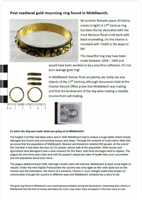 Post medieval gold mourning ring found in Middlewich