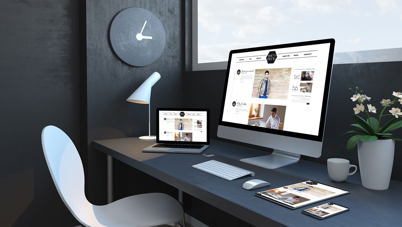 Modern workspace with Mac and Apple devices