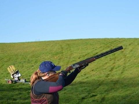Lady clay shooting with the SP solving Eye dominance www.shootsp.co.uk
