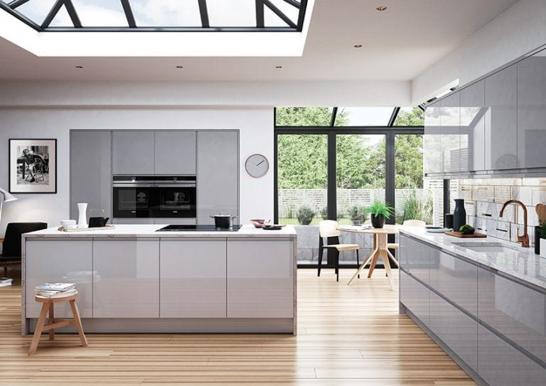 contemporary kitchen design grey gloss