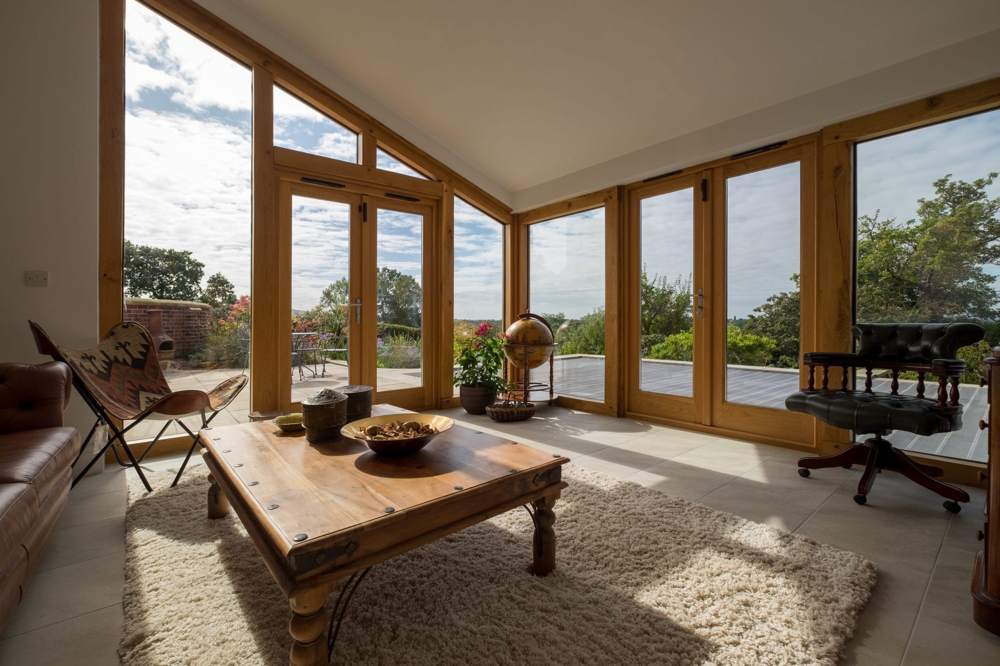 oak framed extension with fully glazed elevations