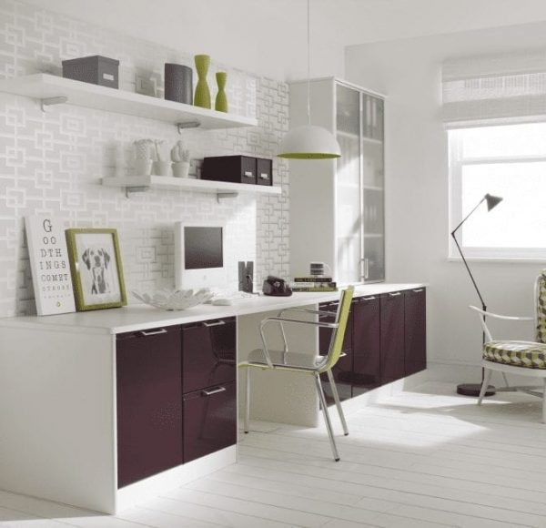Designer fitted furniture in plum and white
