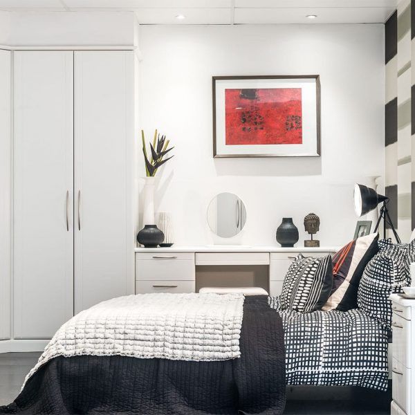 Milan bedroom furniture with white fitted wardrobe