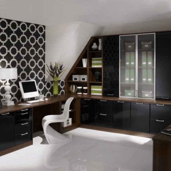 fitted home office furniture in black