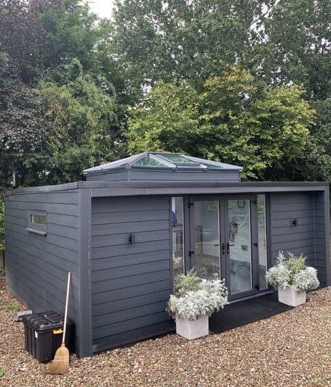 garden room with a roof